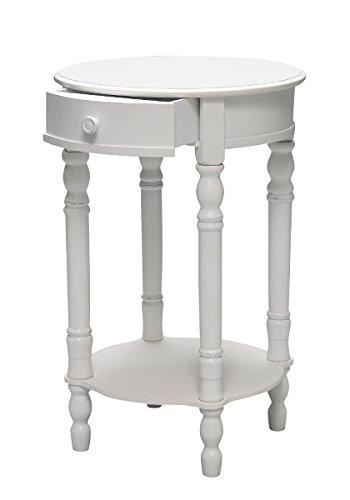 elbmöbel Nachttisch Beistelltisch weiß Antik schmal rund mit Schublade (Weiß, B45 x H75 x T45 cm) (Antik Beistelltisch-set)