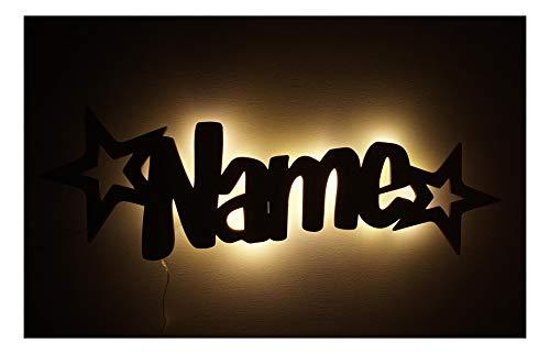 """Schlummerlicht24 Led Möbel Nacht-Lichter Lampe \""""Stern-Funkeln\"""" mit individuell-em Name-n Personalisiert-e Baby Geschenk-e zur Taufe Geburt Kommunion Kind-er Baby-s Junge-n Mädchen"""