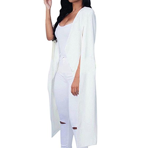 YunYoud Damen Mode Reizvoller Lose Lange Mantel Einfarbig Blazer Mantel Beiläufig Strickjacke Gestrickt Jacke Sommer Frühling Herbst Outwear (S, Weiß)