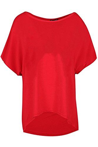Be Jealous Womens Batwing Hülse Lagen aussehen Schicht Übergroße Baggy Hi Lo T-Shirt Top Rot