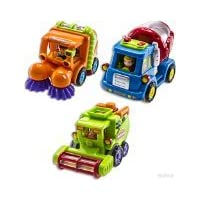 WolVol (Set of 3) Push and Go Friction Powered Car Toys with Automatic Functions, Street sweeper truck, Cement mixer truck, Harvester toy truck - Great Gift Toys for Boys