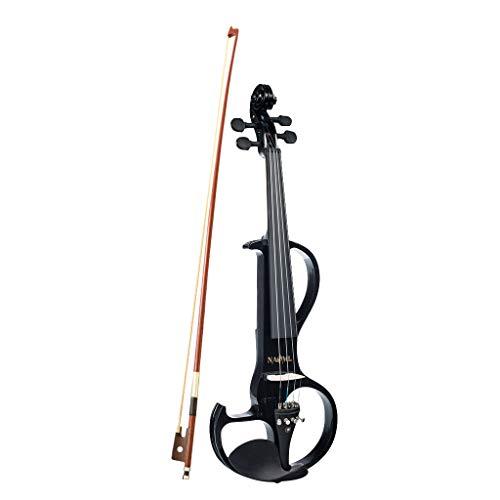 Almencla Profi 4/4 elektrische Violine Geige Set, Ahornholz, Schwarz, mit Koffer, Geigenbogen, Kolophonium, Kopfhörer, Audiokabel usw
