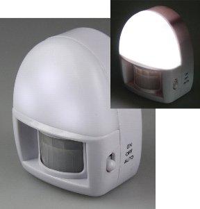 LED Nachtlicht mit Bewegungsmelder, Batteriebetrieb, 3 weiße LEDs, On/Off/Au