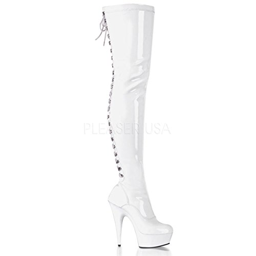 Higher-Heels PleaserUSA Overknee-Stiefel Delight-3063 Lack weiß/weiß Gr.38