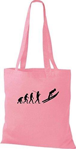 ShirtInStyle Stoffbeutel Jute Evolution Ski Sprung Langlauf diverse Farbe classic pink