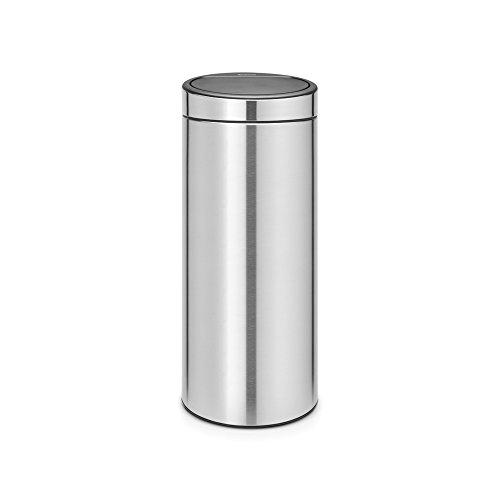 Brabantia 115462 Touch Bin New mit herausnehmbaren Kunststoffeinsatz, 30 L, Edelstahl, matt steel fingerprint proof, 32.8 x 32.8 cm Brabantia 30 L Matt