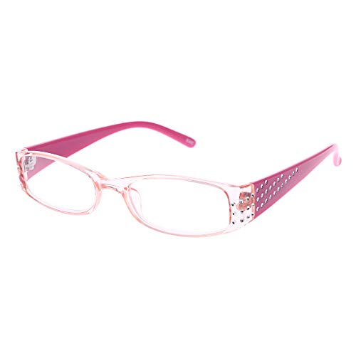 Xurgm Female Simple Fashion Reading Glasses Rectangular Frame Spring Hinges Rhinestone (+2.0, Rosa)