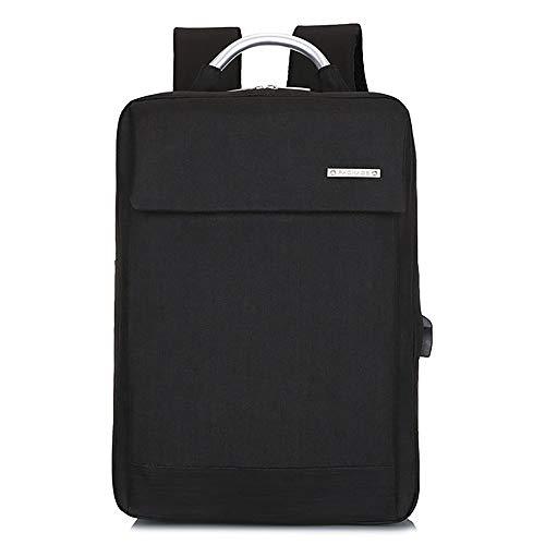 YHM Laptop Rucksack Slim Lightweight Fashion Schultasche USB Ladeanschluss Durable Männer Frauen Wasserdicht Business Casual Für College Travel,Schwarz