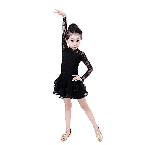 (Tanzkostüm - Latin Dance Kostüm Mädchen Lace Langarm Latin Dress Kinder Tanz Practice Show Kostüm Ballerina Kostüm (Farbe : SCHWARZ, größe : 150cm))