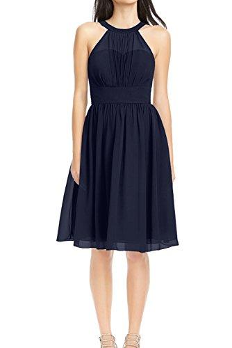 Ivydressing Damen Einfach A-Linie Neck halter Mini aermellos Chiffon Abendkleid Festkleid Ballkleid Partykleid Navy