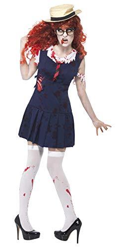 Smiffys, Damen Zombie-College-Studentin Kostüm, Kleid und Mütze, Größe: L, - Halloween Schuljungen Kostüm