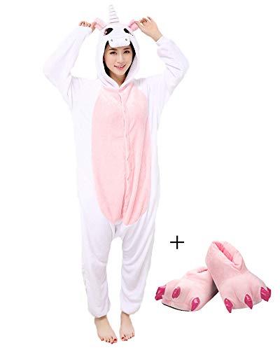 (Pyjamas PlüschkostümJumpsuit Kostüm Tier Schlafanzug Cosplay Karneval Fasching (S: für Höhe 148-157, Pink + Schuhe))