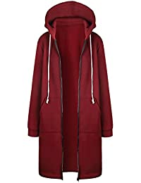 Hifanmall Damen Strickjacke Casual Mantel Hoodie Zipper Hoodies Sweatjacke Langer Manteljacke Oversized Coat Outwear Kapuzenpullover