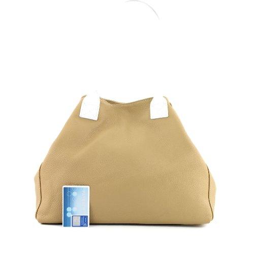 Borsetta donna borsa in vera pelle italiana, T60 Camel
