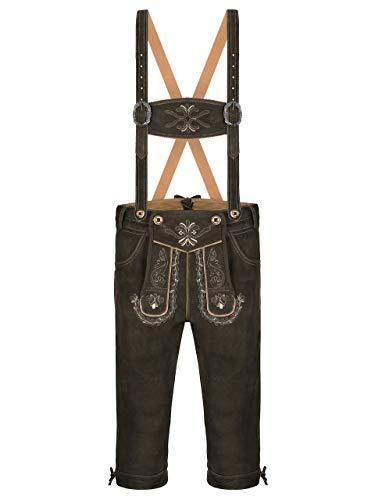Almbock Trachtenlederhose Wildbock Herren | Knielange Lederhose aus feinem Wildleder in schwarz, braun,...