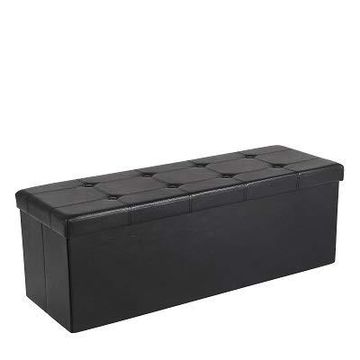 SONGMICS Sitzhocker Sitzbank mit Stauraum faltbar 3-Sitzer belastbar bis 300 kg Kunstleder Schwarz 110 x 38 x 38 cm LSF701