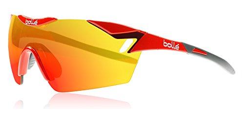 Bollé 6th Sense - Gafas de sol deportivas, color rojo brillante / gris