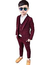 THE DUBAI STUDIO Baby Boy's Blue & Red Cotton Party Suits with Jacket+ Vest+ Pant+ Bowtie (Set of 3)