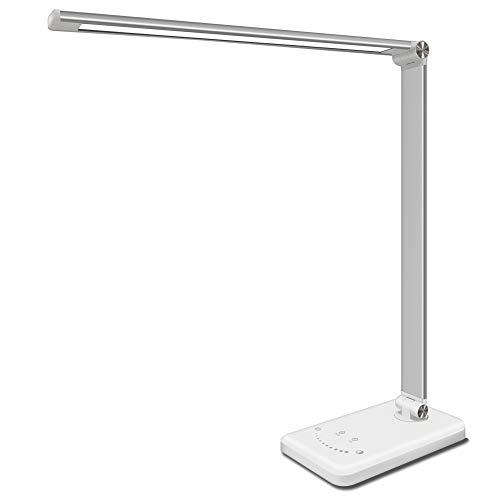 Schreibtischlampe LED 5 Farbtemperaturen 10Helligkeitsstufen Memory-Funktion,Tischlampe Dimmbar USB (5V/1A) Ladeanschluss Akku, Bürolampe, Nachttischlampe 30/60mins Auto-Off Timer [Energieklasse A+]
