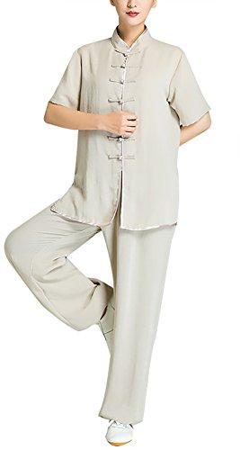 KIKIGOAL Unisex Kurzärmelig atmungsaktiv Tai Chi Anzug Yoga Kleidung Kung Fu Uniformen zur Morgengymnastik Baumwolle und Flachs Chinoiserie (XXL, Flachs)