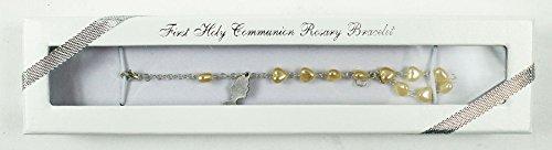 Religiöse Charms Für Armbänder (Kommunion Mädchen Geschenk Silber Charm Armband Perle Herzen Rosenkranz Perlen)