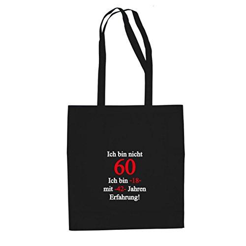 Ich bin nicht 60 - Stofftasche / Beutel, Farbe: schwarz