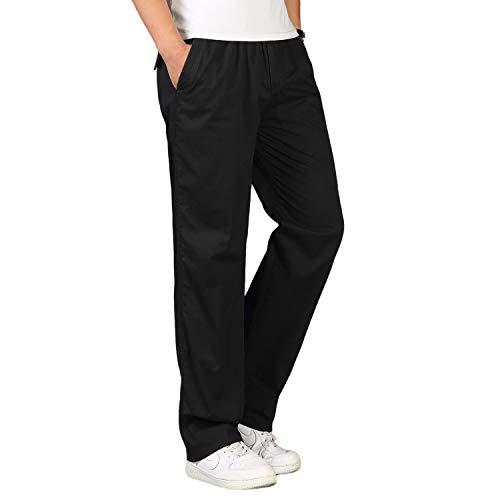 Gmardar Pantaloni Uomo Elegante con Tasche Laterali Zip Elastica Vita Cotone Dritti Larghi Fit Casual Regular Taglie Forti Exlarge Diversi Colori (Nero, 4XL)