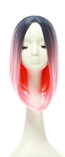 Blue Vessel Hitzebeständige Synthetische Lace Front Perücken Lange Glatte Haare Bob (Rosa Perücke Bob)