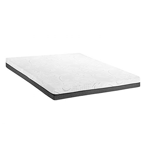 ABAKUHAUS Doppelbett Mattress, Two Layer Design with HR Visco Pads and Soft and Cool to Touch Fabric Cover Jacquard Knitting Futon for Back & Spine Stiffness, 160 cm Wide x 200 cm Long, White Grey (Futons Cool)