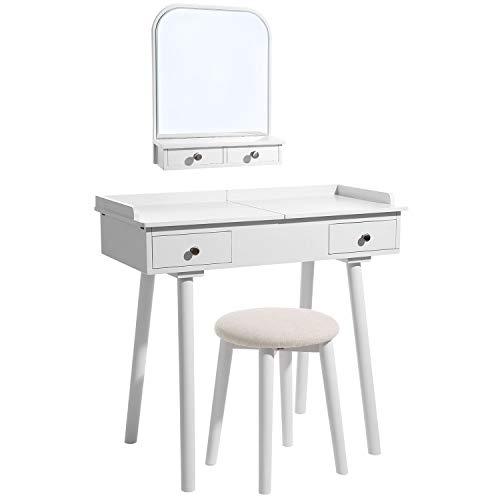 SONGMICS Schminktisch mit Wandspiegel, Frisiertisch mit Massivholzbeinen, Ausziebarer Tischplatte, Herausnehmbarem Organizer, Hocker, 4 Schubladen, für Schlafzimmer, Garderobe,Weiß RDT105WT