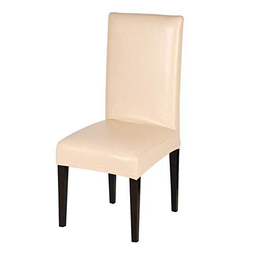 Chenshuai coperture per sedie da pranzo impermeabiliincuoio massiccio elasticizzato pu copridivano sfoderabile coprisedie corte per matrimoni da casa, beige, universale