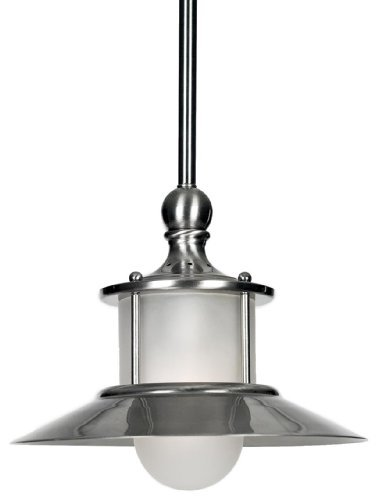 Quoizel NA1510BN New England 1 Light Mini Pendant, Brushed Nickel and Acid Etched Glass Shade by Quoizel