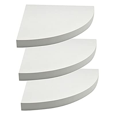 Harbour Housewares Pack Of 3 Floating Wooden Wall Shelf 29.5cm x 29.5cm - White - cheap UK light shop.