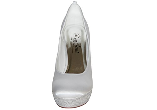 hochzeits-shop-hamburg  Brautschuhe Hochzeitsschuhe, chaussures compensées femme Blanc - Blanc