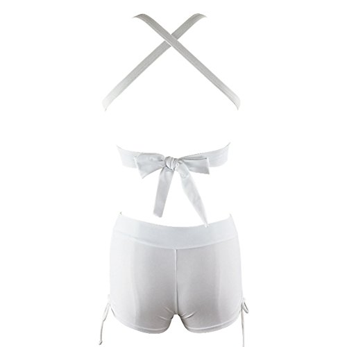 Xiongfeng®Damen Deep V-Neck Badeanzüg Hohe Taille Bikini Set Bademode Weiß