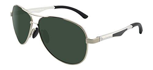 LZXC Polarisierte Sonnenbrille für Männer Outdoor Sport Brillen Unzerbrechliches Federscharnier Ultra-Light Metallrahmen HD Grüne Linse