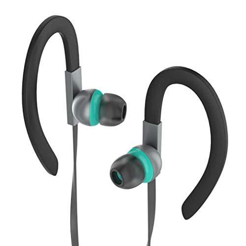 MICSHON MS10 Sport-Telefon-Headset,Universal 3,5 mm In-Ear-Stereo-Ohrhörer Kopfhörer verdrahtet Steuerkabel Clip Stereo Sound Noise Cancelling Earbud mit Mikrofon für Handy (Grau) (Mini Clip Ear)