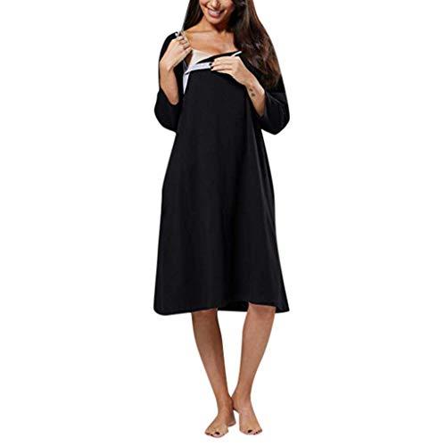 Krankenhaus-kleid (Caerling Damen Geburtskleid Krankenhaus Umstands Nachthemd Stillfunktion Umstandsnachthemd Stillnachthemd Kurzarm Nachthemden für Schwangere und Stillzeit (S, Schwarz-1))