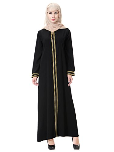 GladThink Mujer Musulmán Kaftan Abaya Vestido de Cuello Redondo Maxi Oro S