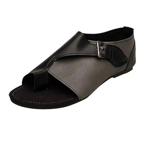 (Masoness Mode Frauen Sommer Römischen Stil Lässig Peep Toe Farbblock Bequeme Flache Schnalle Sandalen)