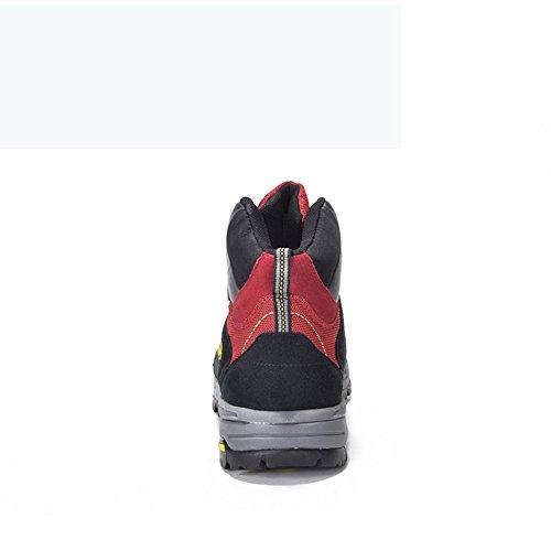 Gomnear Herren Wasserdichte Schuhe Hoch oben Wanderstiefel Trekking Non slip Atmungsaktiv Gehen Klettern Turnschuhe Rot