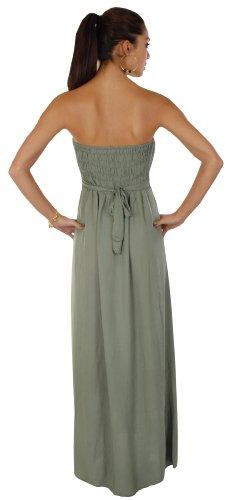 Apparel Outlet - Robe longue haut bandeau - Lucy - Femme Kaki