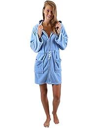 Betz Bademantel Morgenmantel Saunamantel Damen mit Kapuze und Reißverschluss Farben Türkis Blau Pink Creme Größen S - XXL
