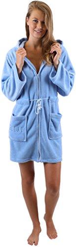 Betz modischer Kapuzen Bademantel für Damen praktischem Reißverschluss Morgenmantel Saunamantel Größen XS - L, Größe S - blau