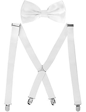 HBF X-formiger Hosenträger mehrfarbige elastische verstellbare Länge für Damen und Herren mit den starken Clips...