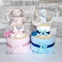 Baby Boy Blue Nappy Cake New Baby Hamper Baby shower Gift 2 tiers (free delivery) …