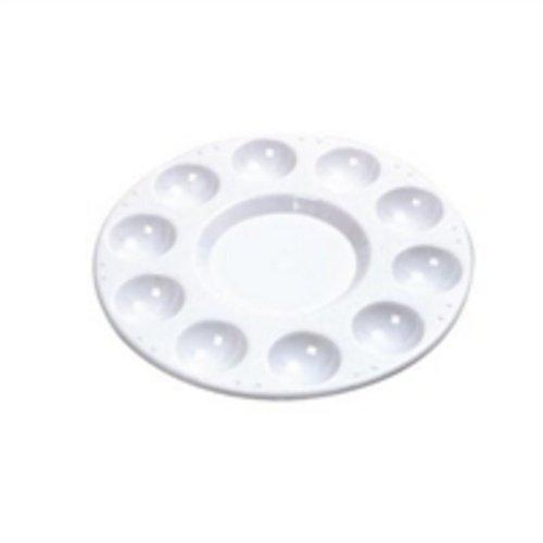 10Wells Aquarell Farbwanne mischen Zirkular Palette aus Kunststoff (weiß)