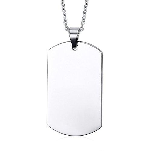 VNOX Nombre de Acero Inoxidable Personalizado Grabado Etiqueta de Perro Collar Colgante de Plata Personalizada para Hombres,Cadena Libre