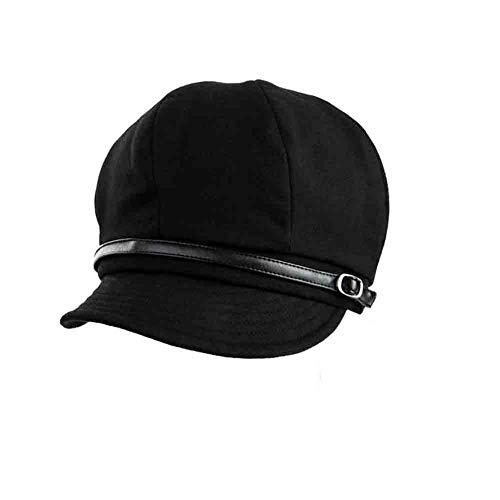 Sunny Hut Frauen Achteckige Kappe Barett PU Gürtel Dekoration Einfache Hübsche Kappe Fischer Hut (Farbe : SCHWARZ)