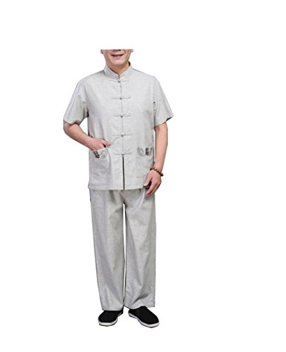 CHLXI Ju Shi Tai Chi vêtements National d'âge Moyen Lin Tang Costume Costume à Manches Courtes Hommes de Style Chinois d'été Broderie de Lin Grossier